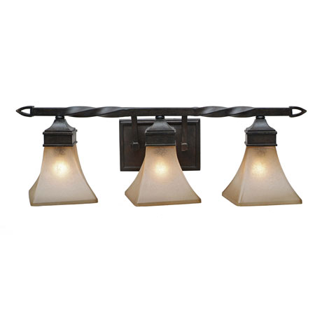 Golden Lighting Genesis 3 Light Bath Fixture in Roan Timber with Evolution Glass 1850-BA3-RT photo