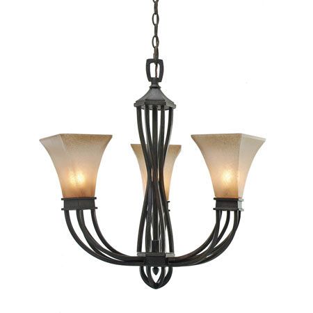Golden Lighting Genesis 3 Light Mini Chandelier in Roan Timber with Evolution Glass 1850-GM3-RT photo
