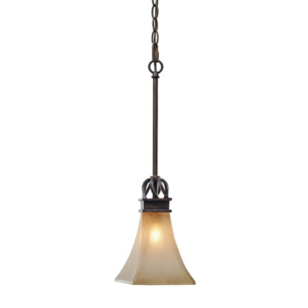 Golden Lighting Genesis 1 Light Mini Pendant in Roan Timber with Evolution Glass 1850-M1L-RT photo