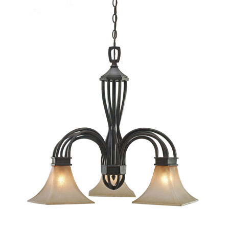 Golden Lighting Genesis 3 Light Chandelier in Roan Timber with Evolution Glass 1850-ND3-RT photo