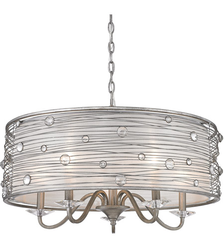 Golden Lighting 1993-5-PS Joia 5 Light 25 inch Peruvian Silver Chandelier Ceiling Light photo