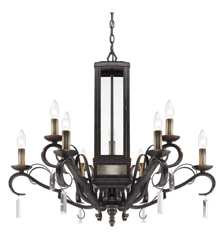 Golden Lighting Valencia 9 Light Chandelier in Fired Bronze with Clear Glass 2049-9-FB photo