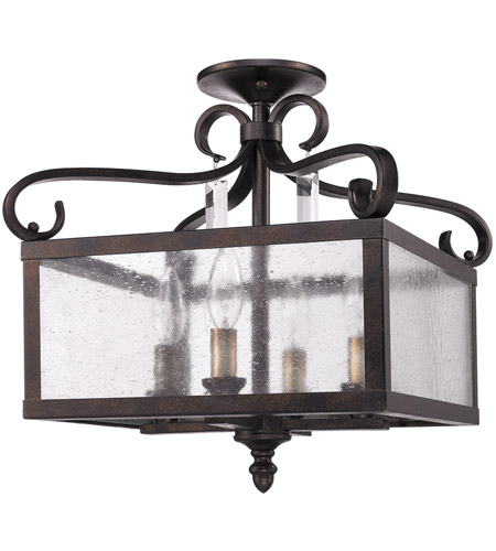 Golden Lighting 2049-SF-FB Valencia 4 Light 14 inch Fired Bronze Semi-Flush Ceiling Light, Convertible photo
