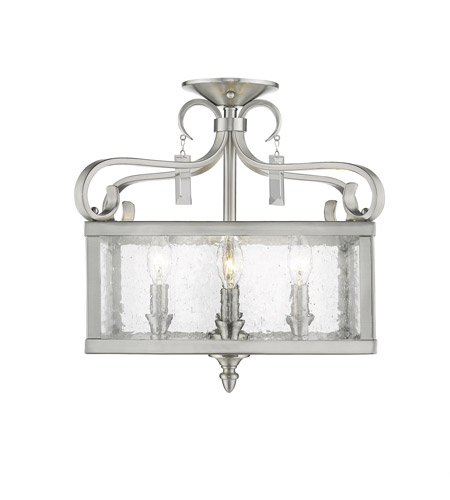 Golden Lighting 2049 Sf Pw Valencia 4 Light 19 Inch Pewter Semi Flush Pendant Ceiling Convertible To
