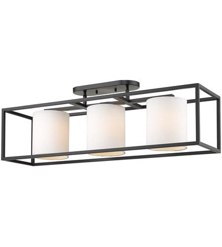 Golden Lighting 2243 3sf Blk Mws Manhattan 3 Light 18 Inch Matte Black Semi Flush Pendant Ceiling Convertible