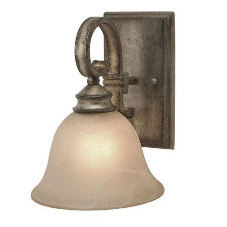 Golden Lighting Rockefeller 1 Light Wall Sconce in Forged Iron with Linen Swirl Glass 2488-1W-FI photo
