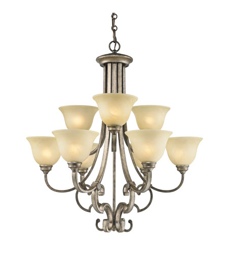 Golden Lighting Rockefeller 9 Light Chandelier in Forged Iron with Linen Swirl Glass 2488-9-FI photo