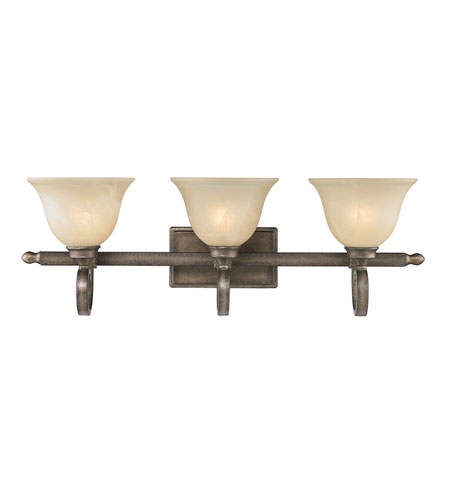 Golden Lighting Rockefeller 3 Light Bath Fixture in Forged Iron with Linen Swirl Glass 2488-BA3-FI photo