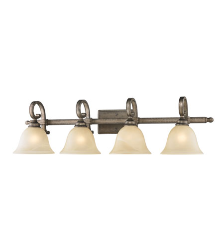 Golden Lighting Rockefeller 4 Light Bath Fixture in Forged Iron with Linen Swirl Glass 2488-BA4-FI photo