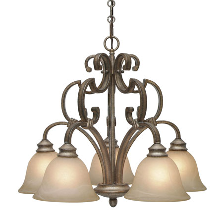 Golden Lighting Rockefeller 5 Light Chandelier in Forged Iron with Linen Swirl Glass 2488-D5-FI photo