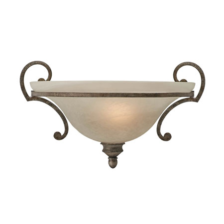 Golden Lighting Rockefeller 1 Light Wall Sconce in Forged Iron with Linen Swirl Glass 2488-WSC-FI photo