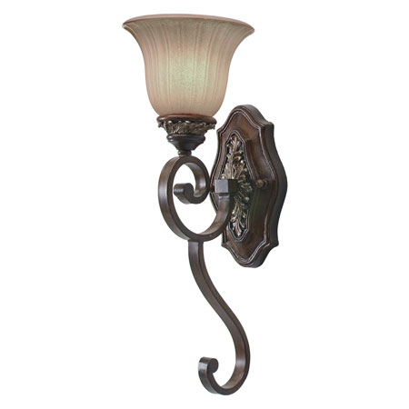 Golden Lighting Bristol Place 1 Light Wall Sconce in New World Bronze with Fleur De Lille Glass 2501-1W-NWB photo