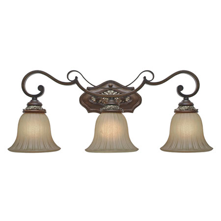 Golden Lighting Bristol Place 3 Light Bath Fixture in New World Bronze with Fleur De Lille Glass 2501-BA3-NWB photo