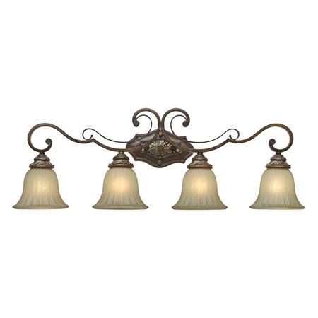 Golden Lighting Bristol Place 4 Light Bath Fixture in New World Bronze with Fleur De Lille Glass 2501-BA4-NWB photo