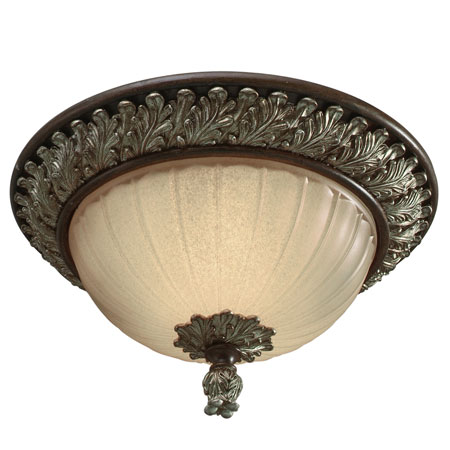 Golden Lighting Bristol Place 2 Light Flush Mount in New World Bronze with Fleur De Lille Glass 2501-FM-NWB photo