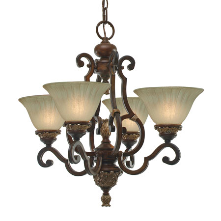 Golden Lighting Bristol Place 4 Light Mini Chandelier in New World Bronze with Fleur De Lille Glass 2501-GM4-NWB photo