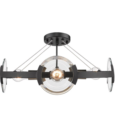 Golden Lighting 2635-4SF-BLK-AB Amari 4 Light 19 inch Black with Aged Brass Semi-Flushmount Ceiling Light, Convertible