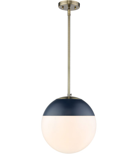 Golden Lighting 3218-L-AB-MNVY Dixon 1 Light 12 inch Aged Brass Pendant Ceiling Light photo thumbnail