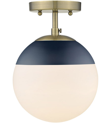 Golden Lighting 3218-SF-AB-MNVY Dixon 1 Light 8 inch Aged Brass Semi-Flushmount Ceiling Light photo thumbnail