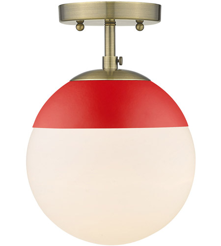 Golden Lighting 3218-SF-AB-RED Dixon 1 Light 8 inch Aged Brass Semi-Flushmount Ceiling Light photo thumbnail