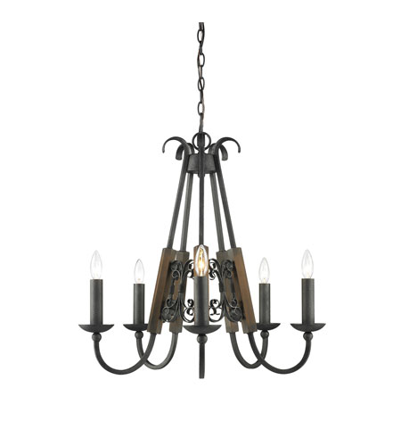 Golden Lighting Moreno Five Light Chandelier In Black Iron One Five Bi