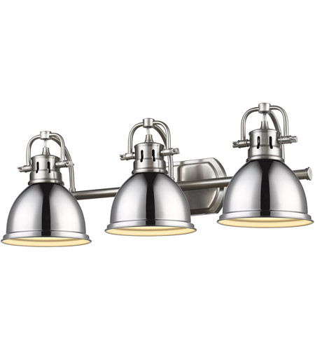 Golden Lighting 3602-BA3 CH-SF Three Light Bath Vanity Chrome