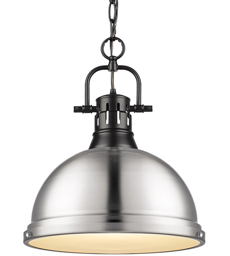 Golden Lighting 3602-L-BLK-PW Duncan BLK 1 Light 14 inch Matte Black Pendant Ceiling Light photo thumbnail