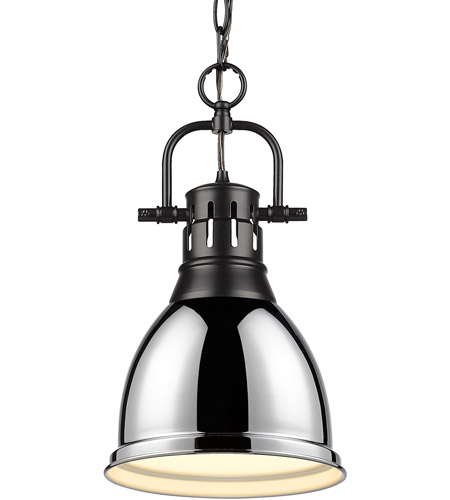 Golden Lighting 3602-S-BLK-CH Duncan BLK 1 Light 9 inch Matte Black Mini Pendant Ceiling Light photo thumbnail