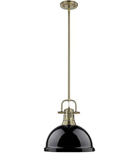 Golden Lighting 3604-L-AB-BK Duncan 1 Light 14 inch Aged Brass Pendant Ceiling Light in Black photo