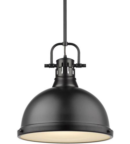Golden Lighting 3602-S BLK-GY One Light Pendant Black
