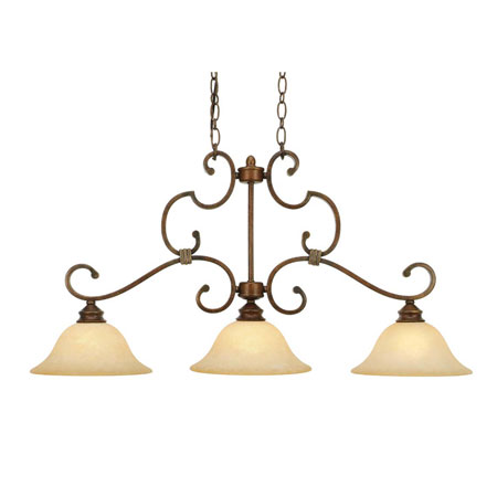 Golden Lighting Rockefeller 3 Light Island Light in Champagne Bronze with Tea Stone Glass 3711-10-CB photo