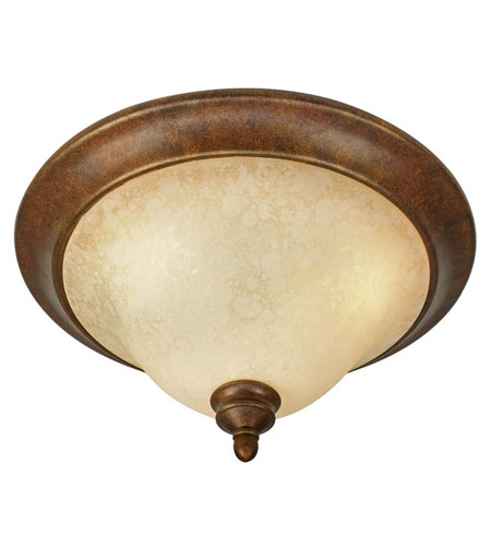 Golden Lighting 3711-17-CB Rockefeller 3 Light 17 inch Champagne Bronze Flush Mount Ceiling Light in Tea Stone Glass photo
