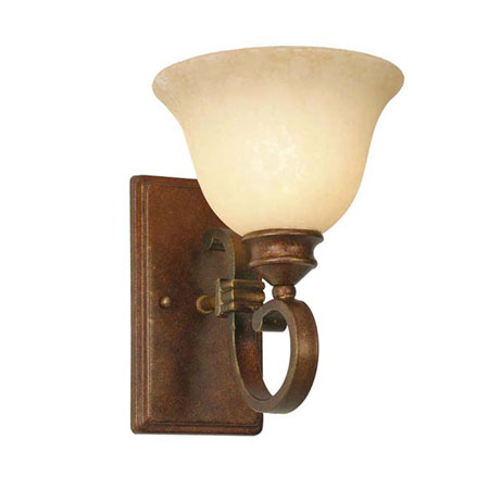 Golden Lighting Rockefeller 1 Light Wall Sconce in Champagne Bronze with Tea Stone Glass 3711-1W-CB photo