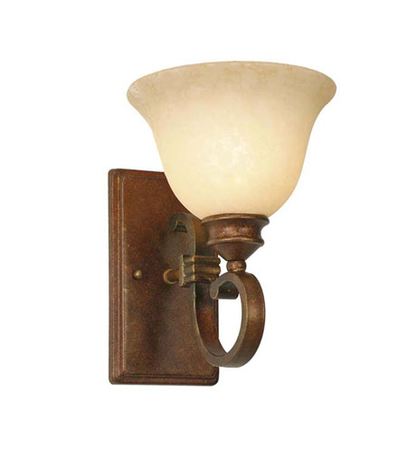 Golden Lighting 3711-1W-CB Rockefeller 1 Light 8 inch Champagne Bronze Wall Sconce Wall Light in Tea Stone Glass photo