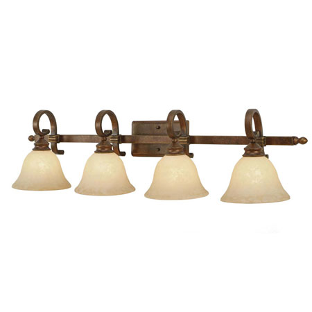 Golden Lighting Rockefeller 4 Light Bath Fixture in Champagne Bronze with Tea Stone Glass 3711-BA4-CB photo