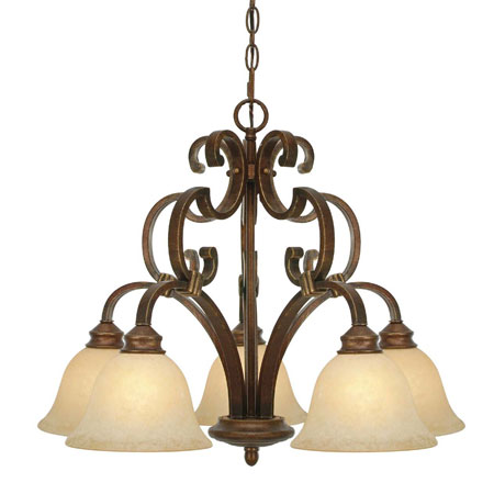 Golden Lighting Rockefeller 5 Light Chandelier in Champagne Bronze with Tea Stone Glass 3711-D5-CB photo