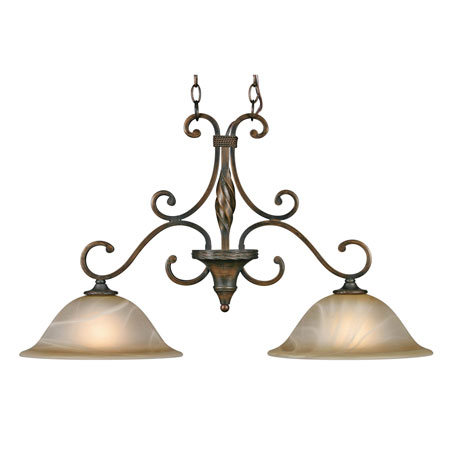 Golden Lighting Meridian 2 Light Island Light in Golden Bronze with Antique Marbled Glass 3890-10-GB photo