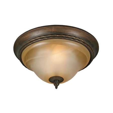 Golden Lighting Meridian 2 Light Flush Mount in Golden Bronze with Antique Marbled Glass 3890-13-GB photo