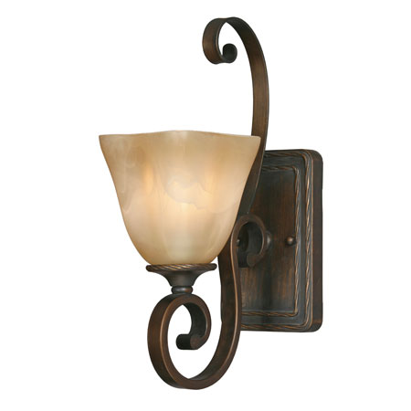 Golden Lighting Meridian 1 Light Wall Sconce in Golden Bronze with Square Antique Marbled Glass 3890-1W-GB photo