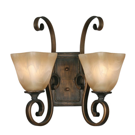 Golden Lighting Meridian 2 Light Wall Sconce in Golden Bronze with Square Antique Marbled Glass 3890-2W-GB photo