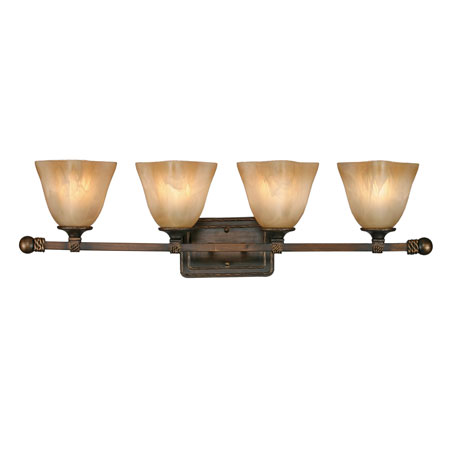 Golden Lighting Meridian 4 Light Bath Fixture in Golden Bronze with Square Antique Marbled Glass 3890-BA4-GB photo