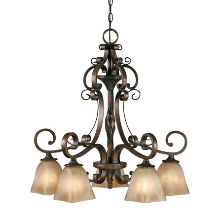 Golden Lighting Meridian 5 Light Chandelier in Golden Bronze with Square Antique Marbled Glass 3890-D5-GB photo