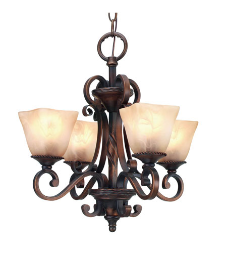 Golden Lighting Meridian 4 Light Mini Chandelier in Golden Bronze with Antique Marbled Glass 3890-GM4-GB photo