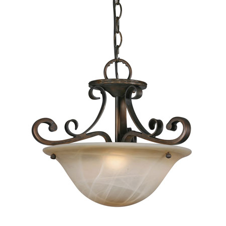 Golden Lighting Meridian 3 Light Convertible Semi-Flush in Golden Bronze with Antique Marbled Glass 3890-SF-GB photo