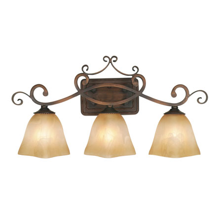 Golden Lighting Meridian 3 Light Bath Fixture in Golden Bronze with Square Antique Marbled Glass 3890-VL3-GB photo