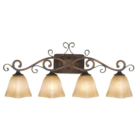 Golden Lighting Meridian 4 Light Bath Fixture in Golden Bronze with Square Antique Marbled Glass 3890-VL4-GB photo
