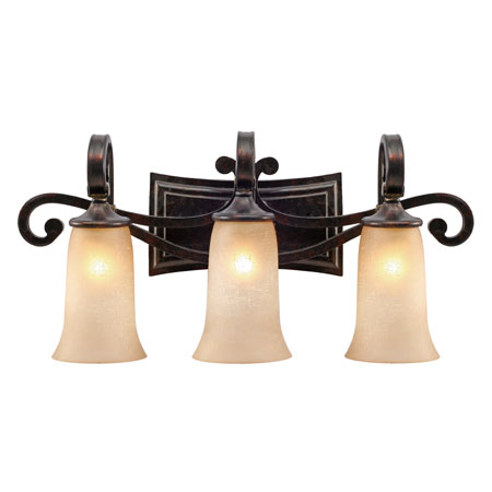 Golden Lighting Portland 3 Light Bath Fixture in Fired Bronze with Birch Glass 3966-BA3-FB photo