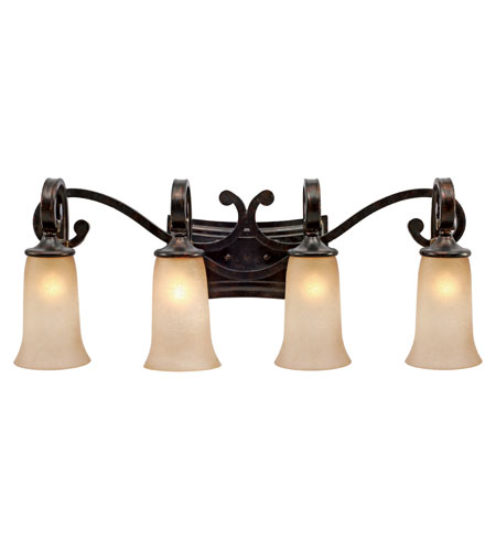 Golden Lighting 3966-BA4-FB Portland 4 Light 32 inch Fired Bronze Bath Vanity Wall Light photo
