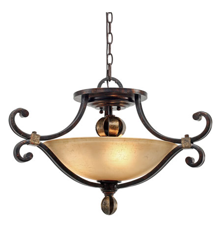 Golden Lighting Portland 3 Light Convertible Semi-Flush in Fired Bronze with Birch Glass 3966-SF-FB photo