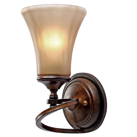 Golden Lighting Loretto 1 Light Wall Sconce in Russet Bronze with Riffled Tannin Glass 4002-1W-RSB photo